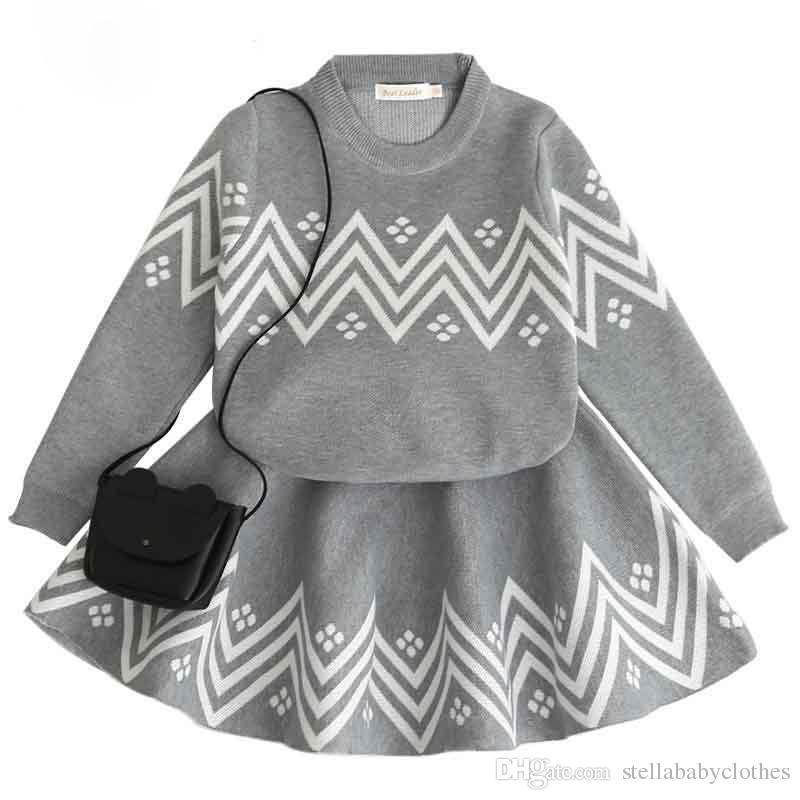 95b7b316af91 2018 nuevo estilo geométrico impreso niñas bebé suéter tutú falda conjunto  ventas calientes otoño invierno tejido manga larga niños ropa ...