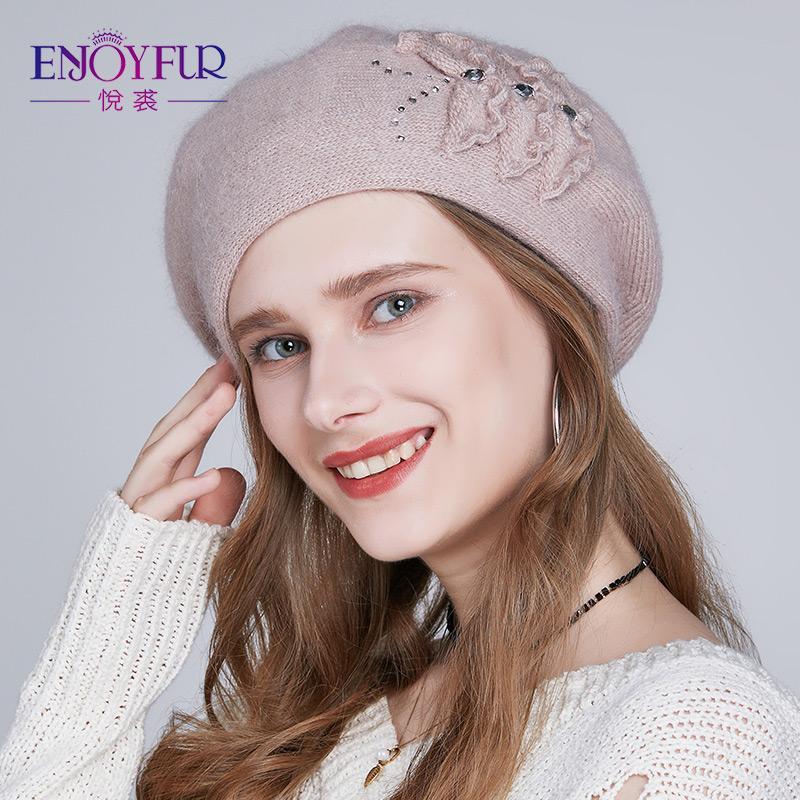 Großhandel Enjoyfur Frauen Winter Beret Hut Weibliche Angora Wolle ...