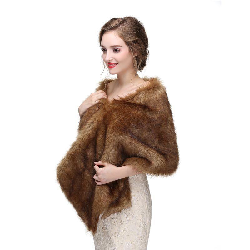 CMS14 Brown Faux fur Vintage style wrap, faux fur cape shrug, bridal shrug Bridal Wrap Women Shawl For Special Occasion