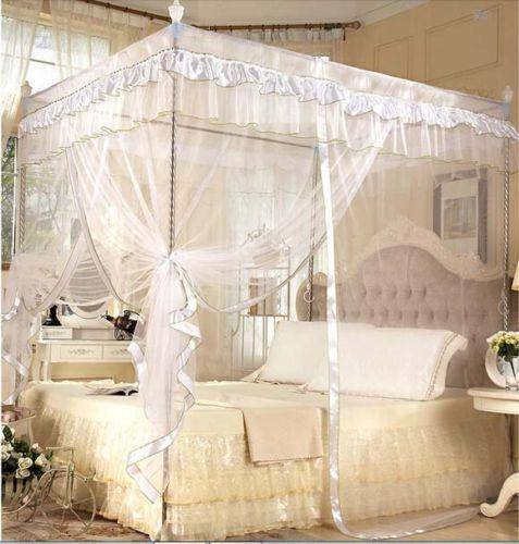 White Four Corner Post Bed Canopy Mosquito Netting NO Frame Post Bed ...