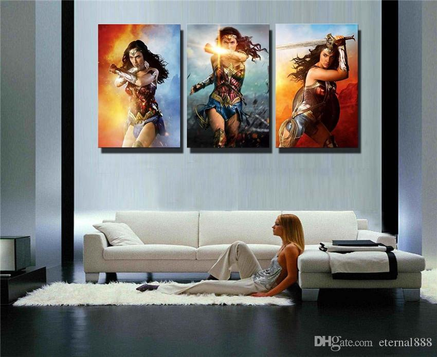 2018 3panelsDc Wonder WomanHome Modern Canvas Oil Painting Print Wall Art Decor For Living Room Home Decoration Framed/Unframe From Eternal888 ... & 2018 3panelsDc Wonder WomanHome Modern Canvas Oil Painting Print ...