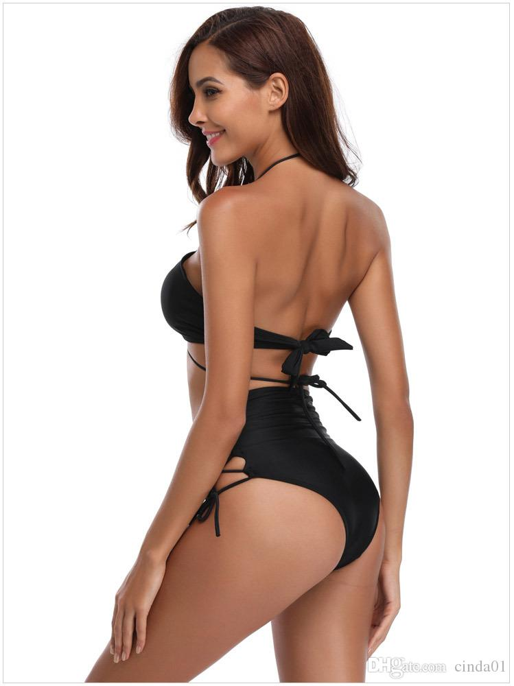 Summer High Waist Sexy Bikinis Women Solid Swimwear Female Braleet Two Piece Halter V-Neck Bandage Swimwear