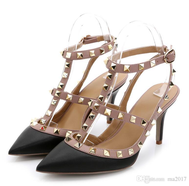 f668ec829ee32 Rivets Shoes Woman High Heels Pointed Toe Sexy 12CM Heels Black Patent  Leather Ladies Shoes Fashion Wedding Shoes Pumps Fringe Sandals Silver  Wedges From ...