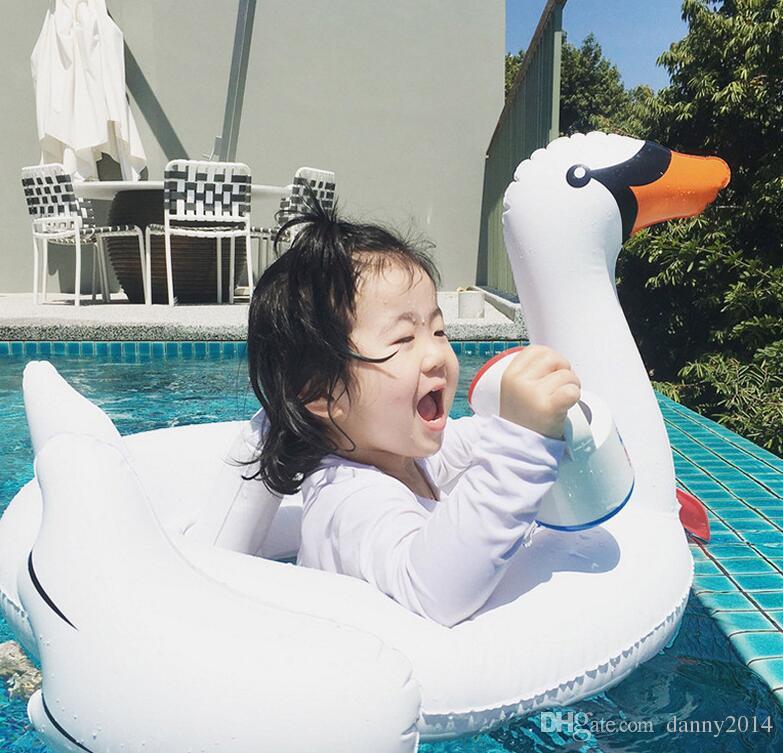 Inflatable kids swim seat ring water floating swimming animal toy Inflatable Flamingo swan mattress children baby swim pool toy