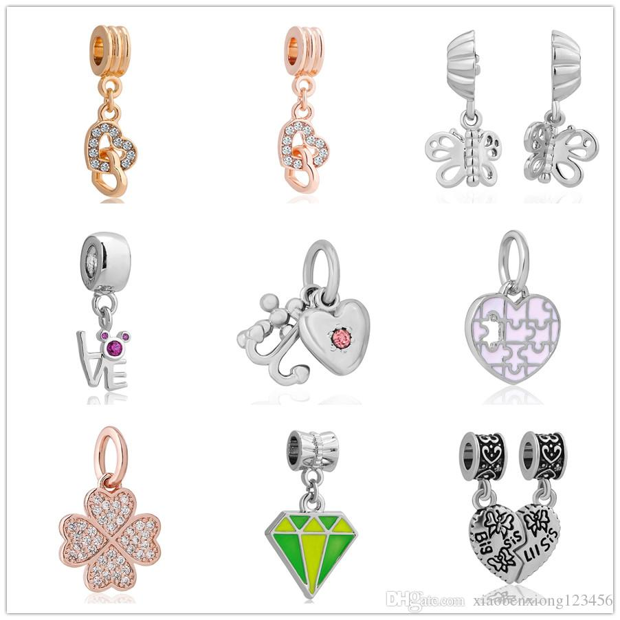 d3aa765ea 2019 Valentine'S Day Gifts Love Clover Crystal Charms Wristband Pendant Fit Pandora  Charms Women Men Diy Bracelet Jewelry ZY009 From Xiaobenxiong123456, ...