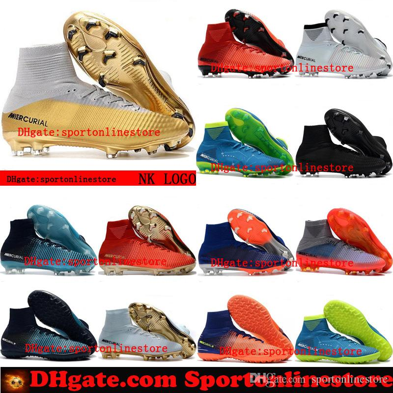 huge selection of 17e09 c7774 2018 womens soccer cleats mercurial superfly CR7 Quinto Triunfo FG indoor  soccer shoes IC TF boys mens football boots kids neymar gold new