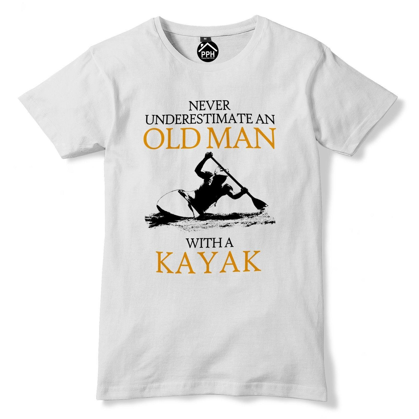 e5c2a0d481 Never Underestimate Old Man KAYAK T Shirt Mens Sea Retired Sail Kayaking  Top 223 Funny Unisex Casual Tee Designs Neck T Shirts From Clothing_dealss,  ...