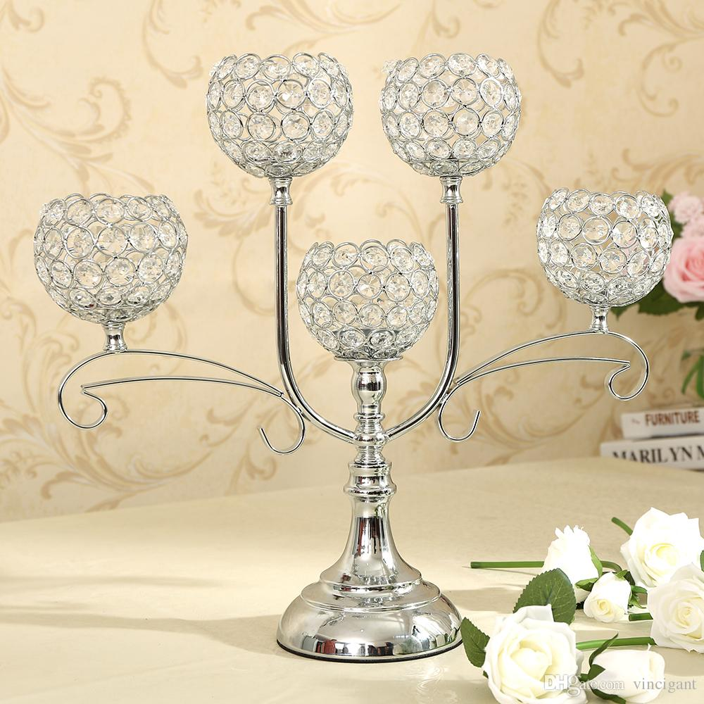 Cool 5 Candle Holders Candelabra Tealight With Crystal For Interior Design Ideas Inesswwsoteloinfo