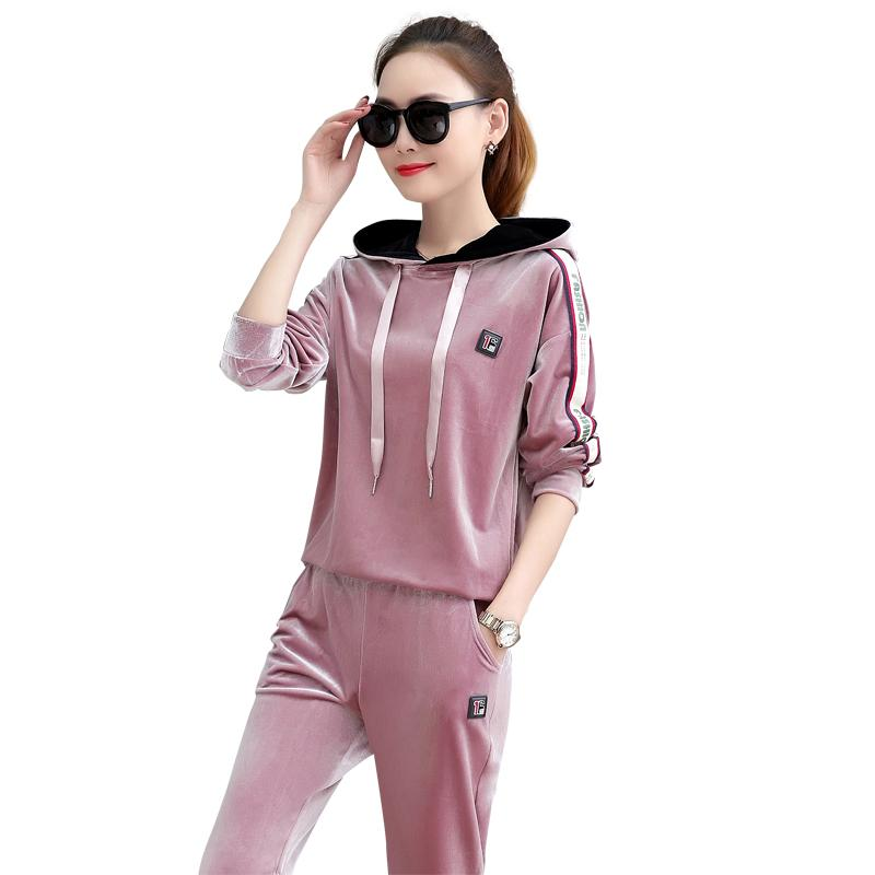 2019 Pink Velour Tracksuit Women Pink Velour Hoodie Long Sleeve 3xl