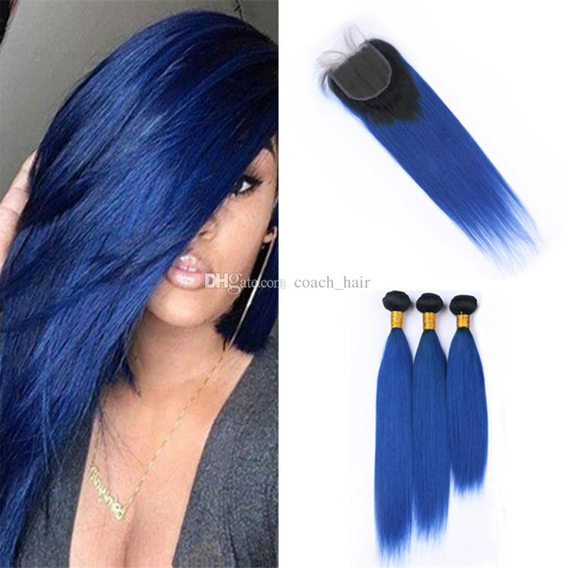 2019 Virgin Malaysian Blue Ombre Hair Weave 3 Bundles With Lace
