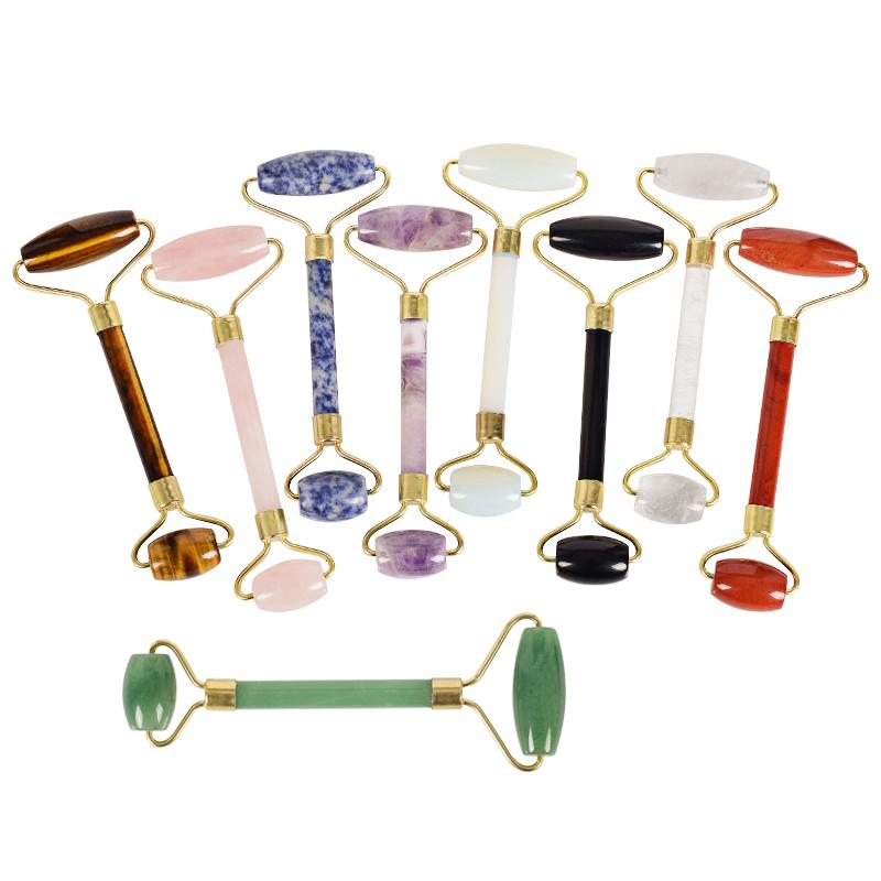 Wholesale natural stone Facial Massage Roller Practical Jade Face Anti Wrinkle Body Head Portable Beauty Health Care Tools