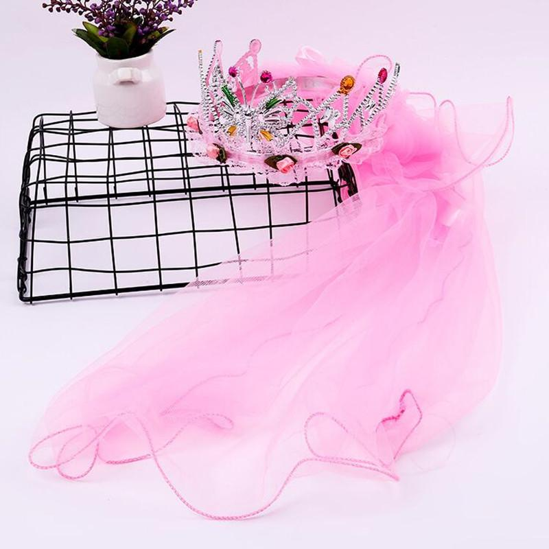 2018 new children girls princess butterfly flower headband long veil kids flower girls hair accessories halloween party favor unique bridal shower favors