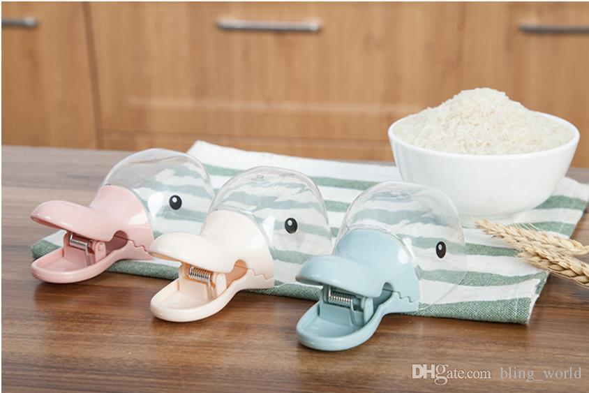 Nette Ente-Kopf-Form-Plastikreis-Mehl-Schaufel versiegelte Ordner-Löffel-Dichtungs-Klipp kreatives Multifunktions-Küchen-Werkzeug-Großverkauf LDH143