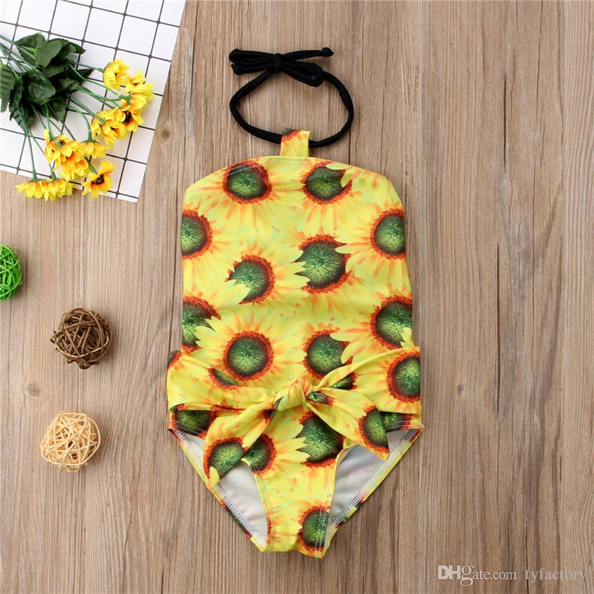 Lovely Kid Baby Girl Sunflowers One-Pieces Swimsuit Bowknot Swimwear Bathing Suit Swimwear Kid Girls Clothing Toddler Beach Wear Boutique