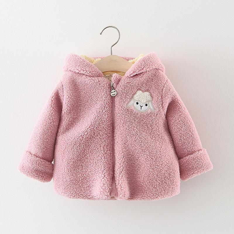 878e30f341bcc 2018 New Winter Warm Baby Girls Coat Cartoon Sheep Thick Fleece Jackets Kids  Hooded Outerwear Plus Velet Girl Thickening Outside Down Jacket For Girls  Girls ...