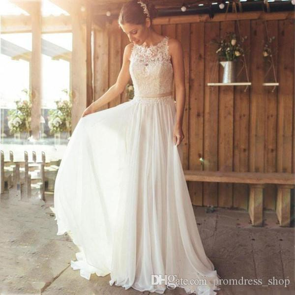 Free Fast Shipping 2019 Boho Beach Wedding Dresses A Line Jewel Sleeveless Sweep Train Bridal Gowns With Lace Applique Chiffon Wedding Gowns