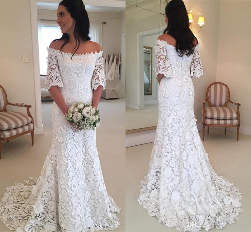 Romantic Lace Mermaid Wedding Dress Cheap Off Shoulder With Illusion Half Sleeves Cheap Wedding Gowns Plus Size Custom Made For Bride Mermaid Style Wedding