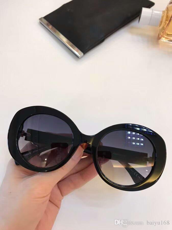 b4b0eec9d9 Women 0293S Oval Sunglasses Black Grey Gradient Lens 52mm Designer  Sunglasses Sonnenbrille Fashion Eyewear Glasses in Summer New with Box  FF0293S Sunglasses ...