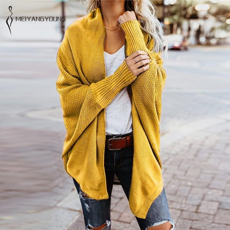 6a2a11d6f34d 2019 Batwing Sleeve Knitted Cardigan Sweaters Women Oversized Long ...