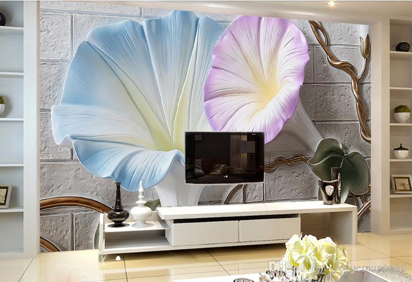 Personalice el papel tapiz para paredes. Mejoras para el hogar 3 d. Fondos de pantalla en relieve floral para la sala de estar.