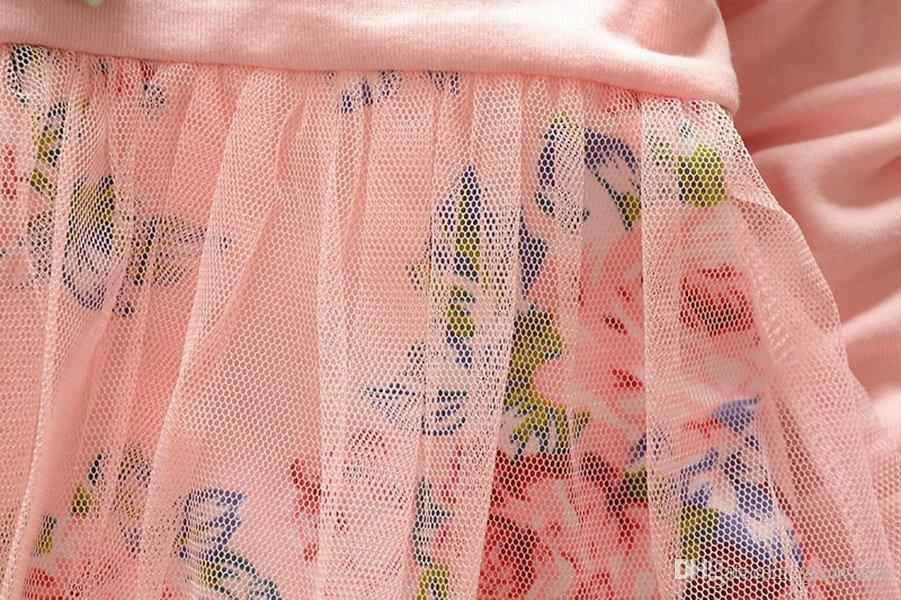 Toptan İlkbahar sonbahar kız elbise Uzun kollu kızlar çiçek elbise takım elbise çiçek elbise + pantolon 2 parça pamuk 4 renk