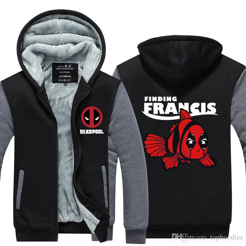 455644d352 Compre Deadpool Finding Francis Moletom Com Capuz Novo Inverno Engrossar  Velo De Algodão Com Zíper Jaqueta Casual Casaco Super Quente Camisola EUA  DA UE ...