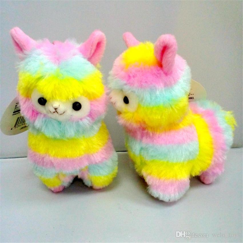 Rainbow Alpaca Plush Sheep Toy Keychain Japanese Stuffed Animals Alpaca Soft Plush Alpacasso Baby Plush Gifts for Kids 13cm