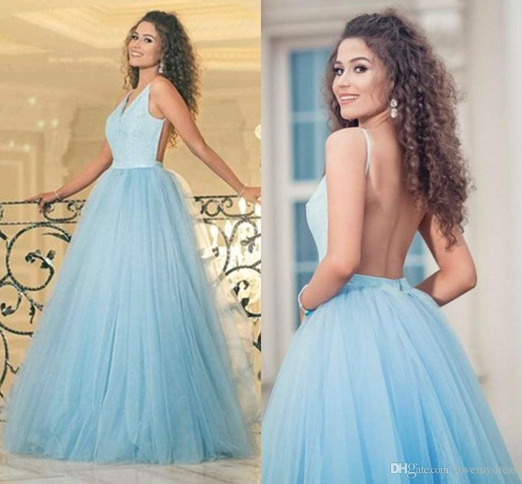 Ball Gowns Cheap Prom Dresses Light Sky Blue Sequined Top Tulle ...