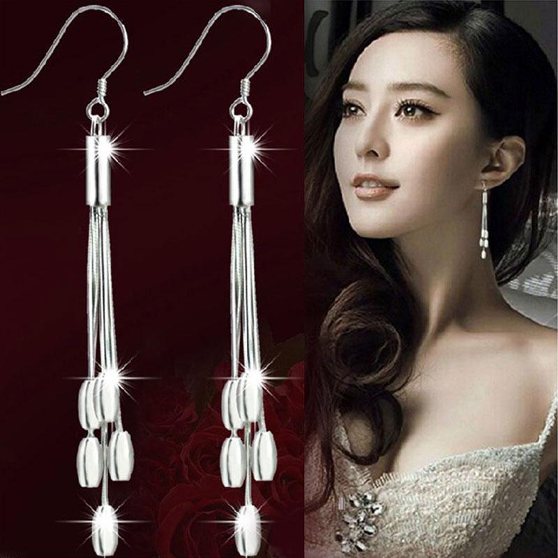 30a4195cb 2019 Women Girl Silver Plated Drops 925 Sterling Drops Long Tassels Hook  Dangle Earrings Fashion Jewelry From Playnice, $19.24 | DHgate.Com