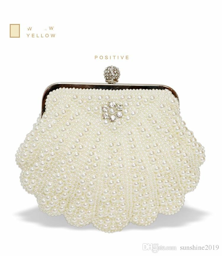 White High Quality Elegant Pearl Clutch Bag Oval Shape Beaded ... 8a86e103c441