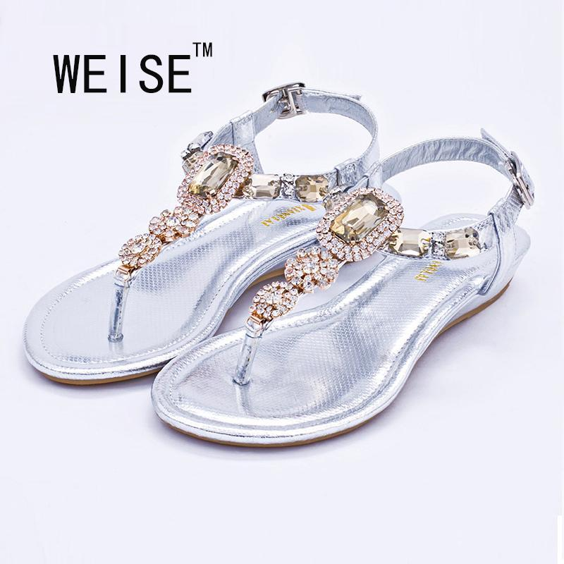 872c377026b8 Wholesale WEISE Large Size 2016 Latest Fashion Sandals Summer Simple  Rhinestone Shoes Shoes For Women Flats Flip Flops Wedges Sandal Tan Wedges  Fringe ...
