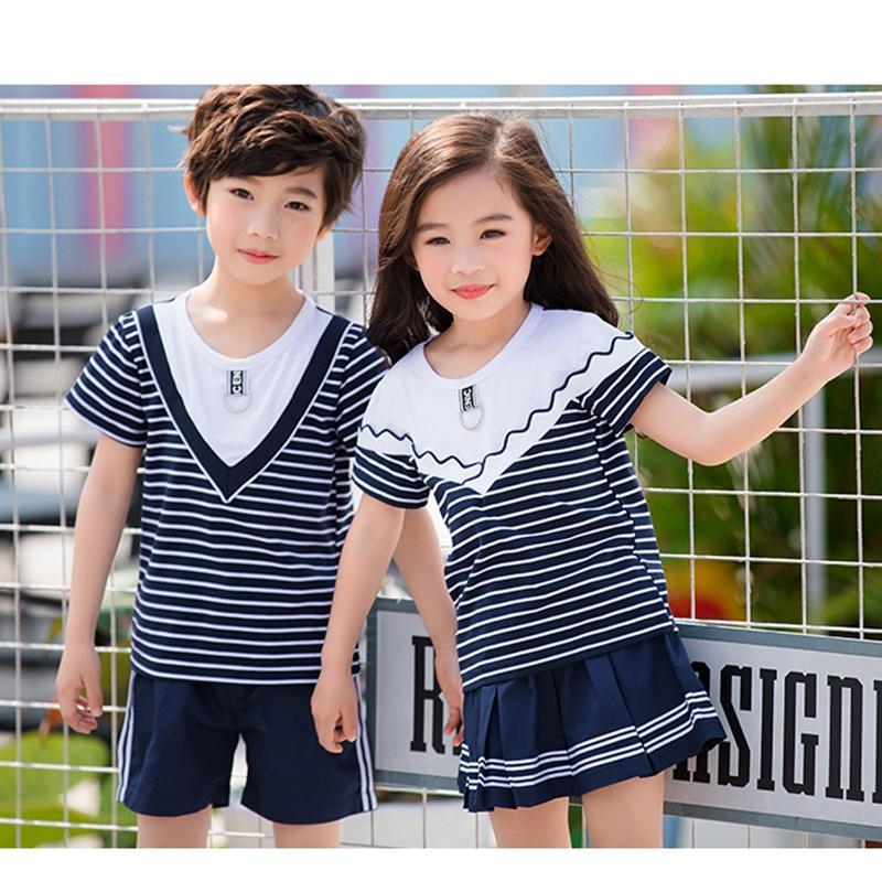 1aa8a81bae8c Family Matching Outfits New Brother Sister Clothes School Uniforms Boy  Striped T-Shirt for Girls + Shorts Skirt 2Pcs Student Set