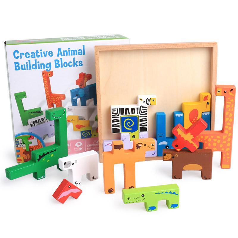 Bricks 3d Wooden Building Blocks Toy Children Innovative Animals Toy