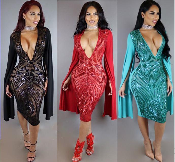 64554a284b98 Sexy Sequins Bodycon Dress Nightclub CHEAPEST Club Dress 2018 Sexy Short  Dress 3 Colors F0089 Deep V Neck Split Long Sleeve