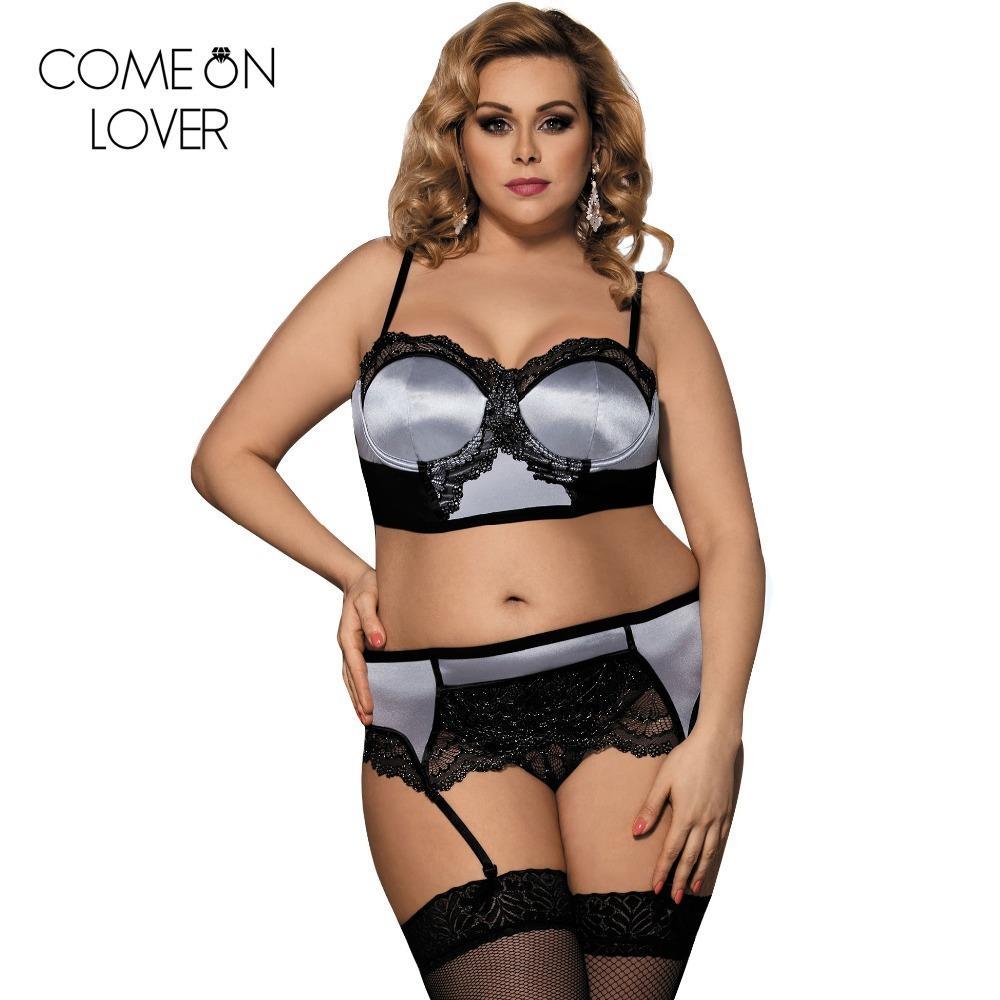 c38fe37edc1c99 Push up lngerie sutiã e calcinha garter belt plus size 5XL rendas lingerie  erótica cetim underwear mulheres set sexy RE80093 Y18102206