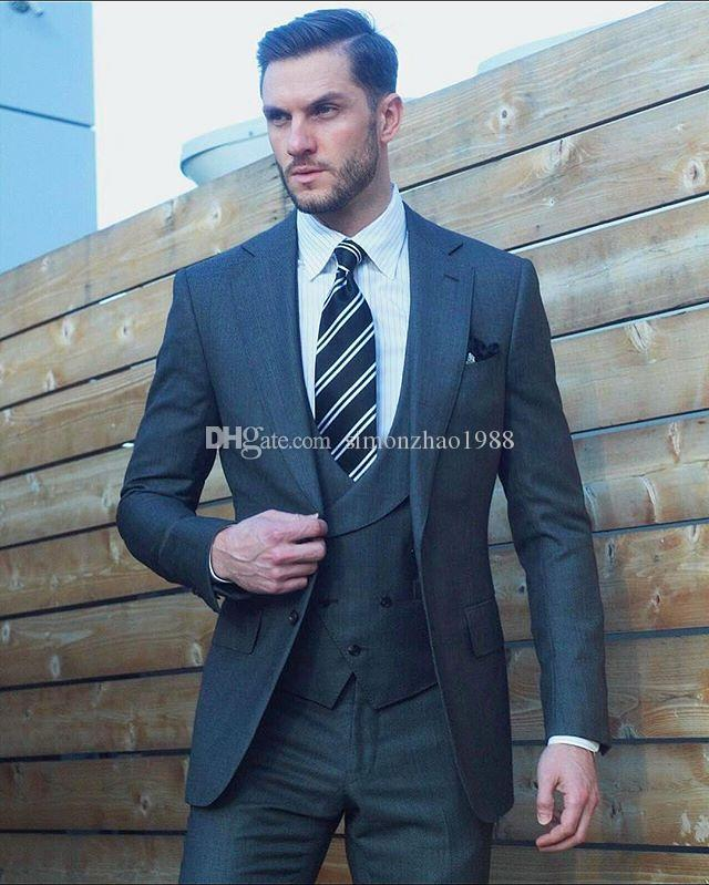 2018 New Arrival Business Bespoke Grey Classic Wedding Groom Suits ...