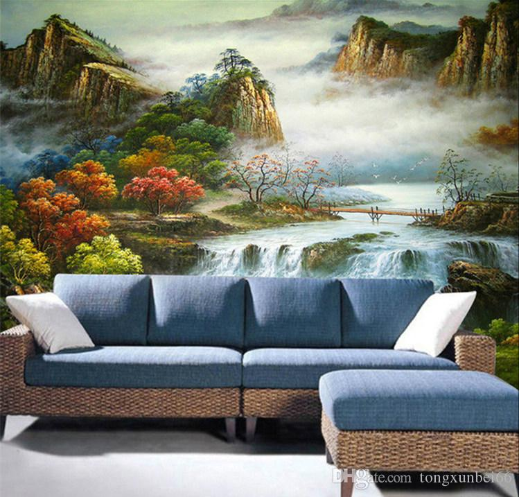 3d mural Chinese style mountain view papel de parede bedroom sofa tv murals wallpaper,home decoration