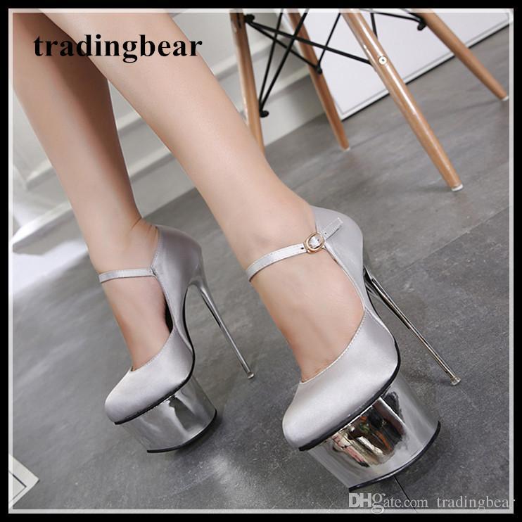 1b22635c40b 16cm Silver Satin Wedding Shoes Women Designer High Heels Platform Pumps  Size 34 To 40 Footwear Bass Shoes From Tradingbear