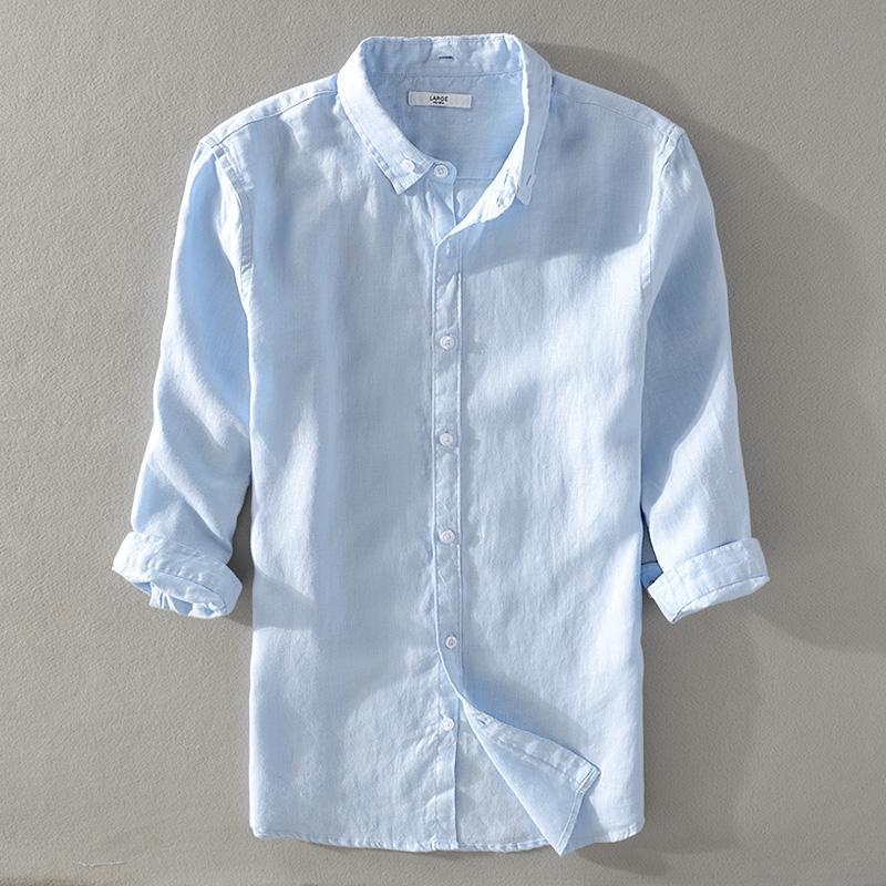 Acquista 2018 Nuova Camicia Di Tre Quarti Di Lino Puro Uomo Casual Camicia  Bianca Da Uomo Estate Stile Classico Camicie Di Lino Maschio Camisa M 3XL A  ... a354b0c21b7
