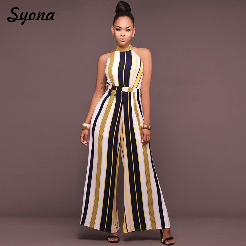 340238a5812 2019 2018 WOMENS Culotte JUMPSUIT ROMPERS Formal Office Party Wide Leg  Pants Elegant Baggy Overalls Striped Palazzo Loose Summer 2XL From Stripe