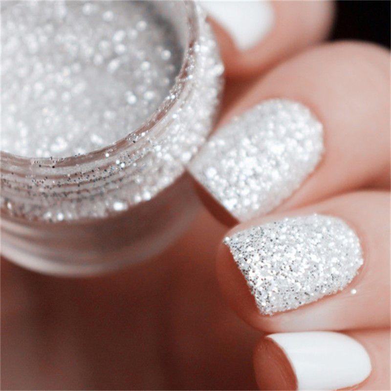 2017 10mlbox Nail Art Glitter Tips White Silver Accessories Glitter