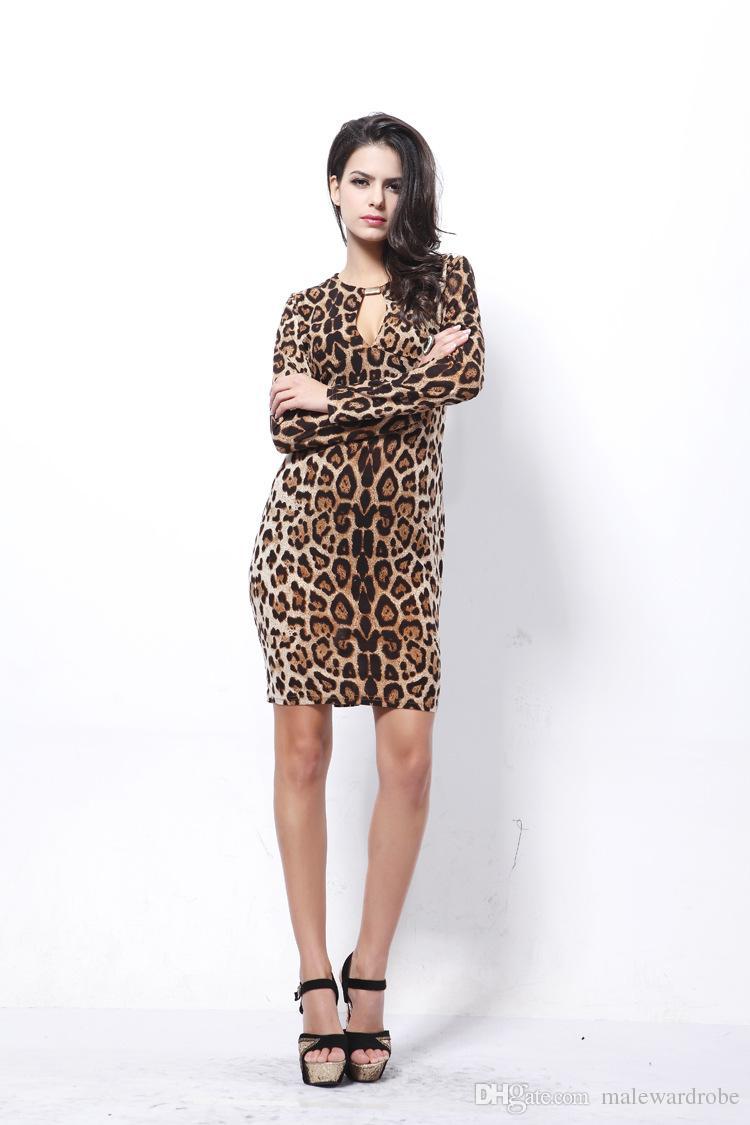 Le donne Fashion Leopard aderente abiti primavera vestito a maniche lunghe abito formale abiti autunnali