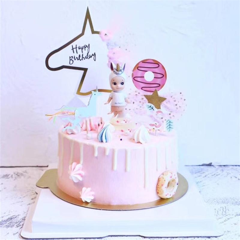 2018 Unicorn Cake Flag Birthday Party Decoration Cake Decor Unicorn