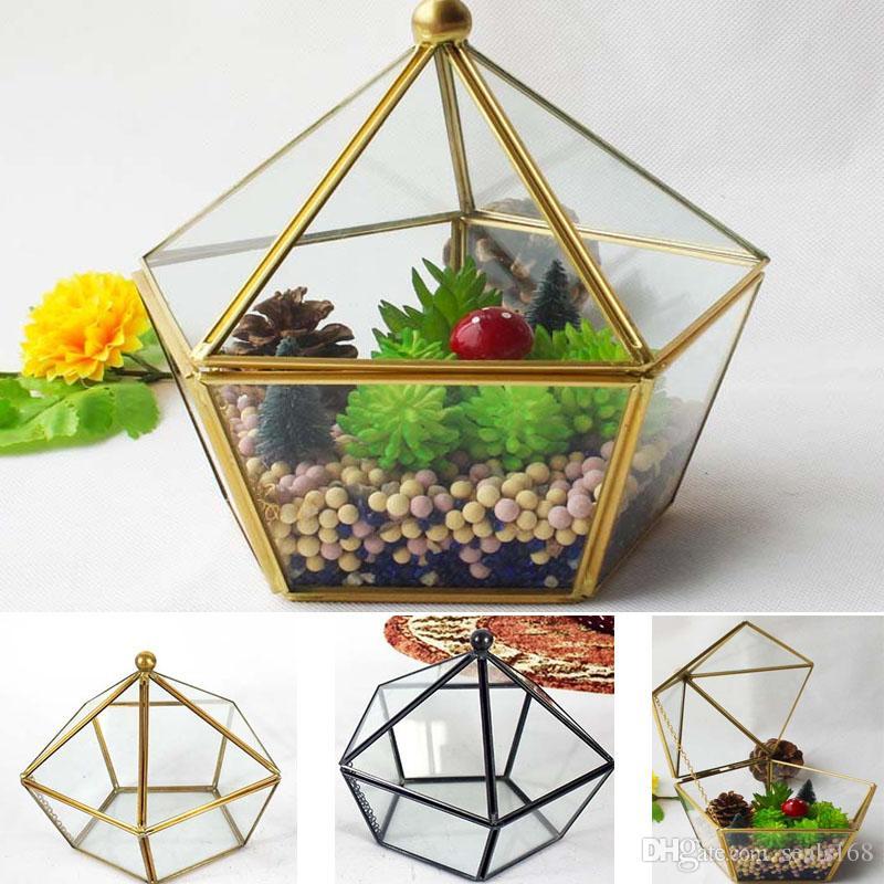 15 17cm New Miniature Glass Terrarium Geometric Diamond Desktop