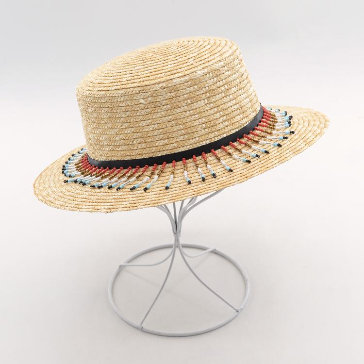4d7bace2 Muchique Women's Boater Sun Hat With Sequins Nat Flat Brim Wheat Straw  Summer Hat with Colorful Pom Poms