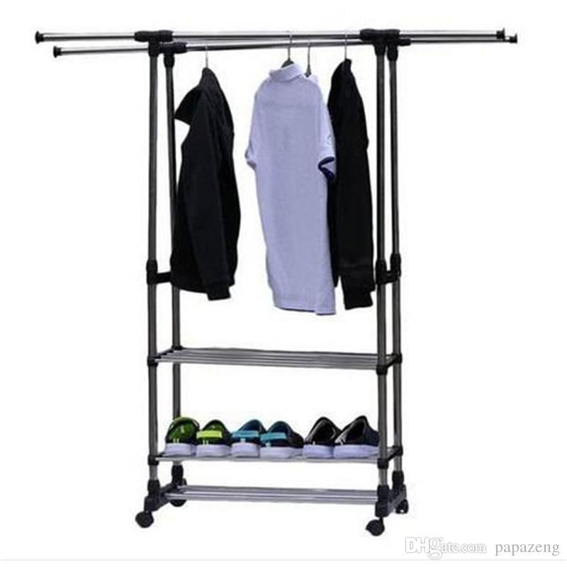 2018 Hot Dual Bars Horizontal Vertical 3 Tiers Stainless Steel Clothing  Garment Shoe Rack Storage Holders U0026 Racks Storage Holders Racks Home Storage  ...