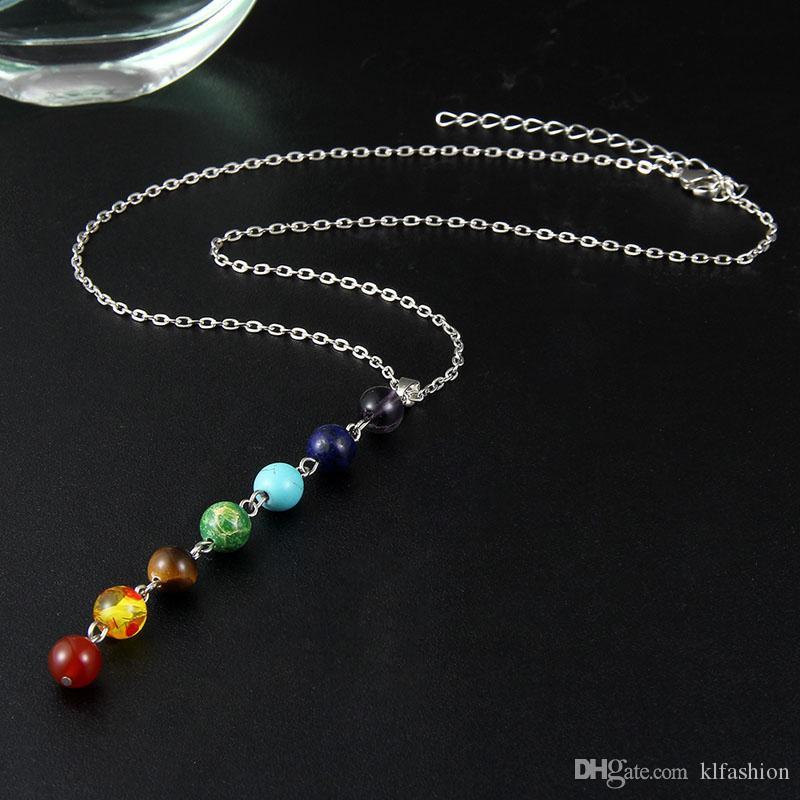 Серебряный цвет простой стиль 7 чакра многоцветные натуральные каменные бусы кулон ожерелье длинная цепочка для женщин шарм коллирские воротники йоги ювелирные изделия