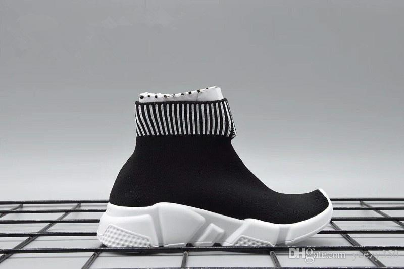 New Knit Speed Mid High Infant Sneaker Kids Running shoes Children sports shoes girls and boys shoes Knitted Socks Trainer