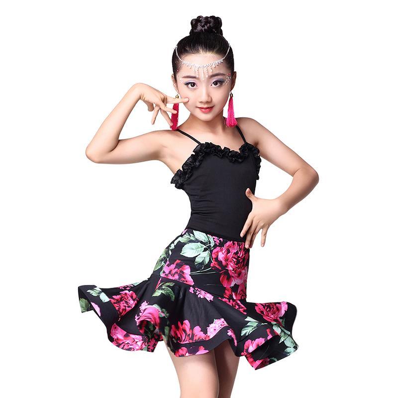 Acheter Robe Enfant Salsa Latine Pour Enfants Ballroom Dancing Rumba Samba  Jupe Enfant Volant Spandex Cha Cha Robe De Danse Latine Tango Pour Filles  De ... b2e0d039d33