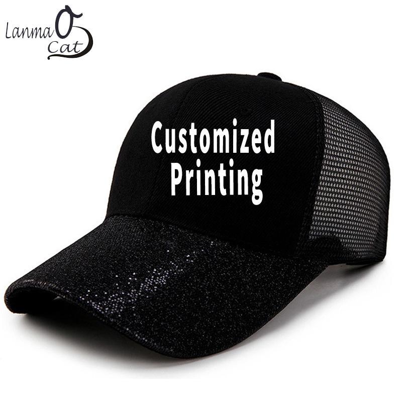 90c23d22f Lanmaocat Bling Baseball Cap for Women Custom Design Glitter Baseball Cap  Men Female Sun Hat Snapback Trucker Free Shipping